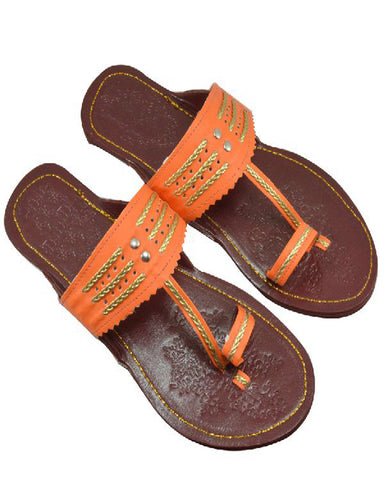 Orange & Goldern Kolhapuri Chappal