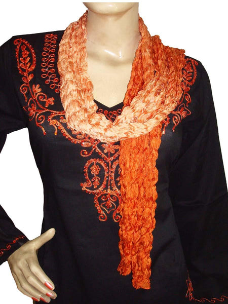Orange Wrinkled Silk Scarves
