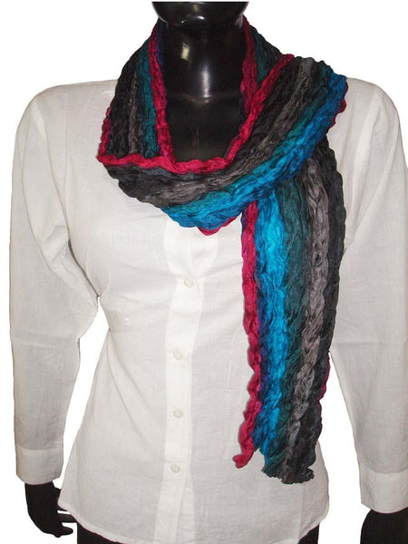 Multi Color Wrinkled Silk Scarves