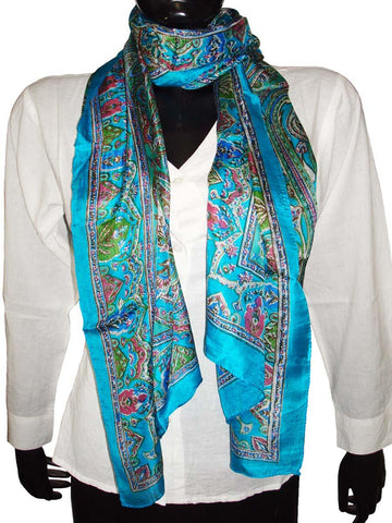 Blue Designer Silk Scarves