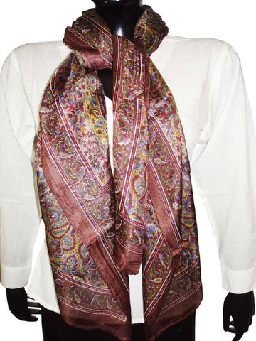 Brown Designer Silk Scarves