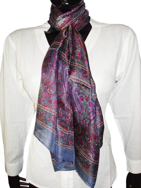 Grey Designer Silk Scarves