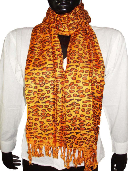 Yellow & Brown Designer Animal Print Stoles
