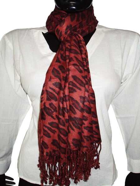 Brown Designer Animal Print Stoles