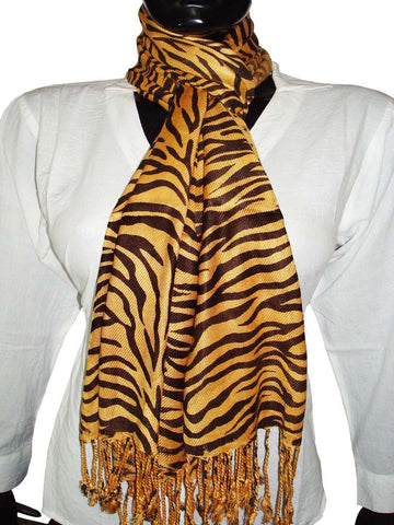 Yellow Designer Animal Print Stoles