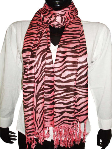 Red Designer Black Animal Print Stoles