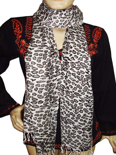 Cream & Black Designer Animal Print Stoles