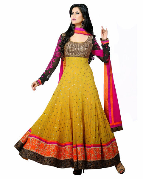 Designer Gold Yellow Anarkali Suit