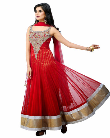 Designer Sea Red Anarkali Suit