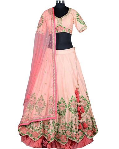 Peach Color Silk Designer Lehenga Choli