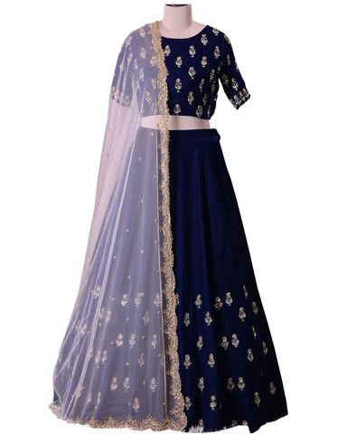 Navy Blue & Skin Color Designer Lehenga Choli