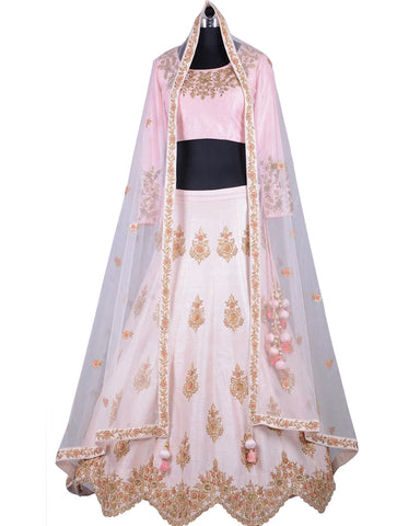 Light Pink Color Silk Designer Lehenga Choli