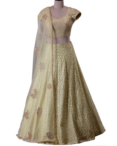 Cream Color Banarsi Silk Designer Lehenga Choli