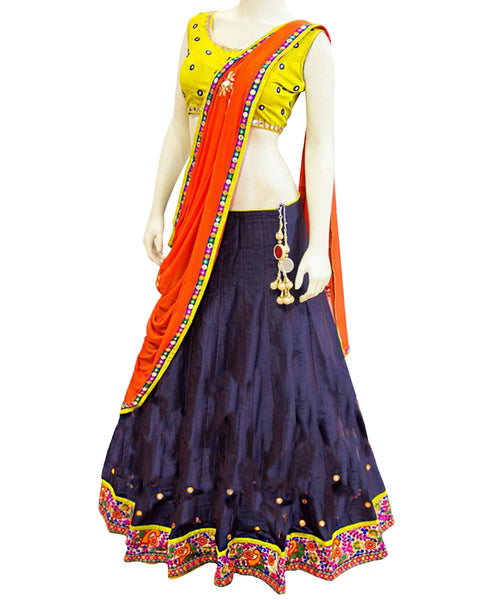 Dandiya Navratri Navy Blue Color Silk Mirror work Chaniya Choli