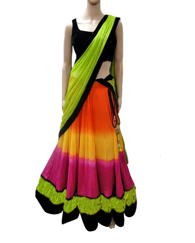 Dandiya Navratri Parrot Green & Multi Color Silk Gota Chaniya Choli