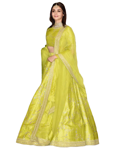 Aliya Lemon Yellow Color Silk Lehenga