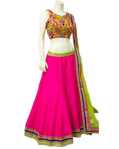 Navratri Special Pink color Rahsam worked Chaniya Choli