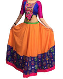 Dandiya Navratri Orange & Multi Color Silk Gota Chaniya Choli