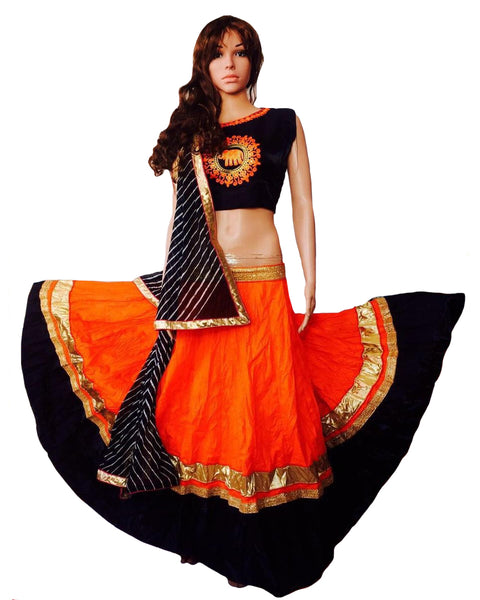 Dandiya Navratri Oragange & Black Color Silk Gota Chaniya Choli