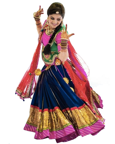 Dandiya Navratri Dark Blue & Multi Color Silk Hand Worked Chaniya Choli