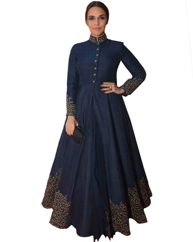 Navy Blue Silk Color Bollywood Gown