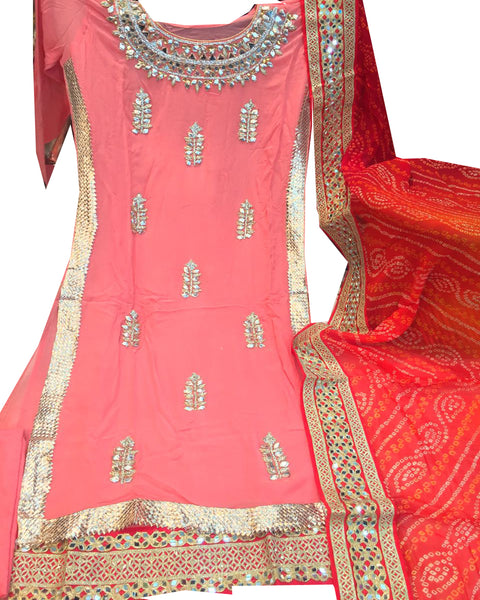 Peach And Red  Designer Gota Patti Palazzo Suit