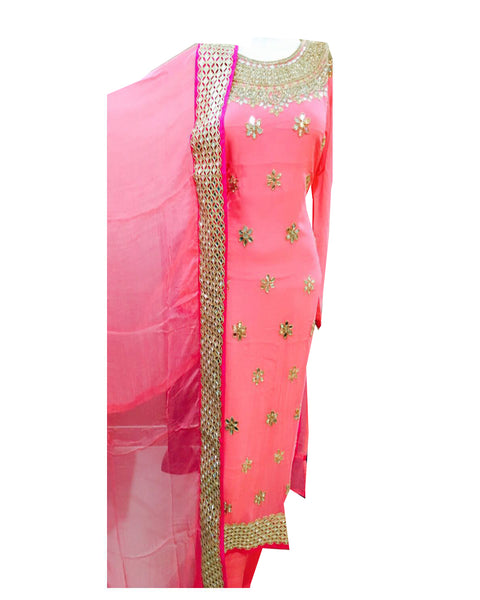 Peach Color Gold Gota Patti Suit