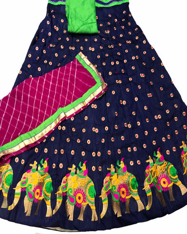Navy Blue Color Elephant Border Banglori Silk Lehenga