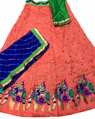 Peach Color Elephant Border Banglori Silk Lehenga