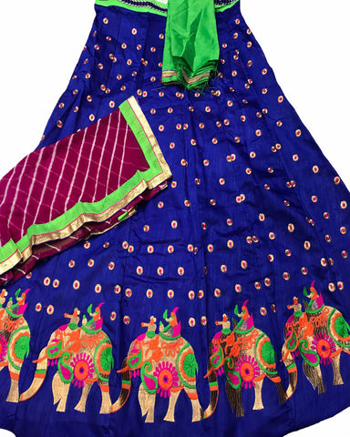 Royal Blue Color Elephant Border Banglori Silk Lehenga