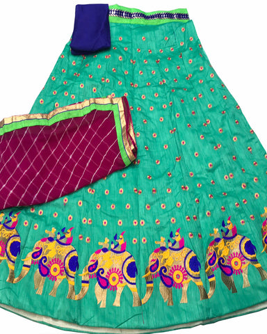 Sea Green Color Elephant Border Banglori Silk Lehenga