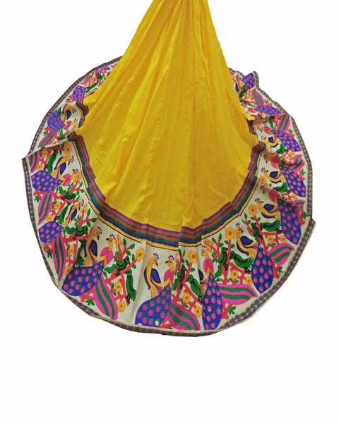 Yellow Color Peacock & Parrot Kutchi Border Lehenga