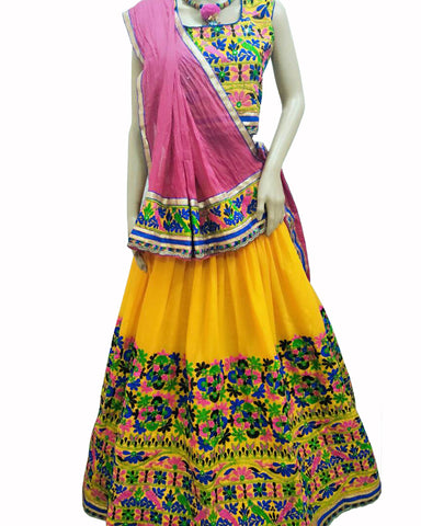 Yellow Color Kutch Work Lehenga