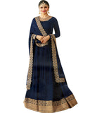 Blue Plain Anarkali Suit With Heavy Border