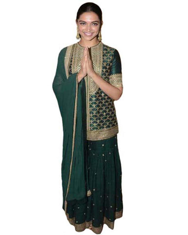 Deepika Padukone Bollywood Green Sharara Suit