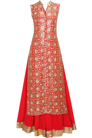 Coral Red Long Top With Raw Silk Lehenga