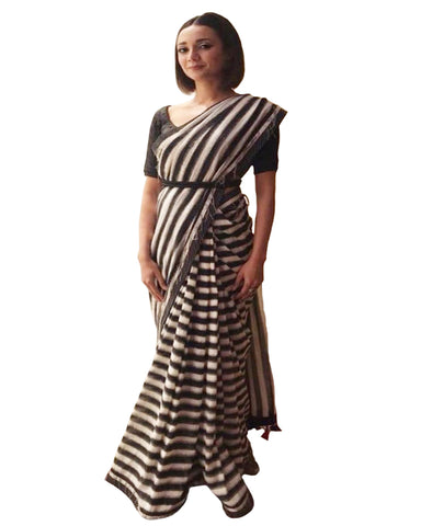 Ira Dubey's Similar Black White Stripes Saree