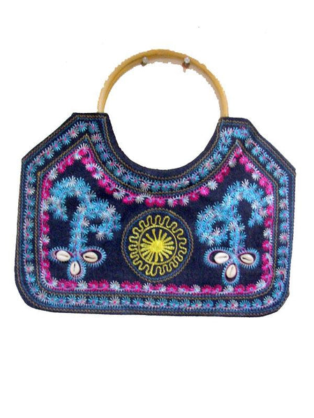 Blue Multy color wooded Bag
