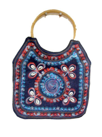 Multy Color Blue wooded Bag