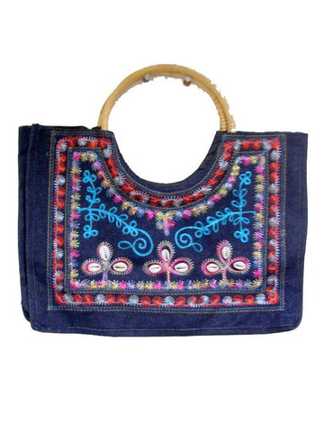 Blue Multy Color Emb. Bag