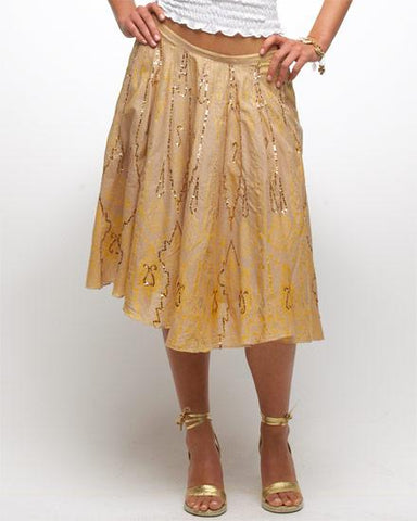 Brown & Golden Rayon Skirt