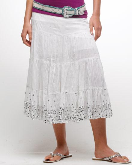 White Crape Cotton Skirt
