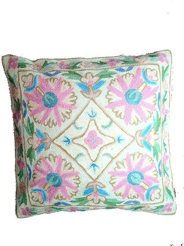 Cream & Multy color Kashmiri Cushion Cover