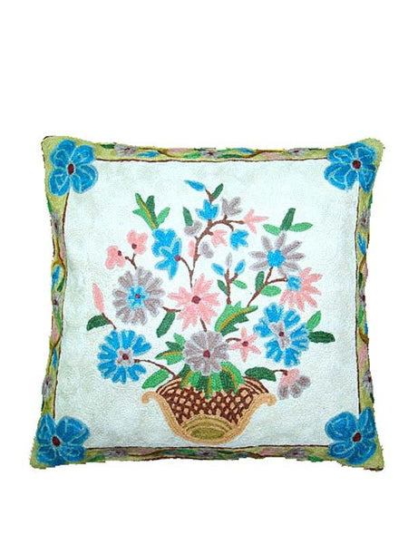 White Color Kashmiri Cushion Cover