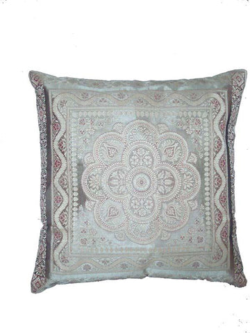 Silver Silk Embroidered Cushion Cover