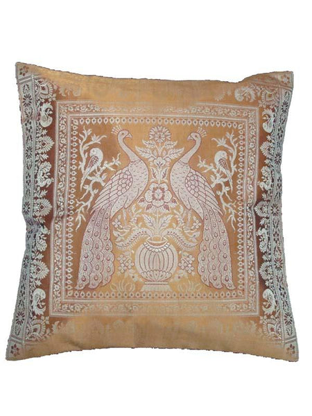 Brown Silk Embroidered Cushion Cover