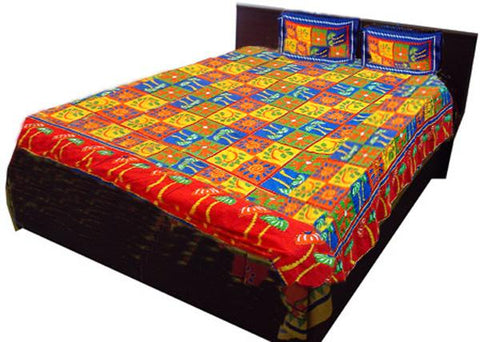 Yellow Red Embroidered Bed Sheet