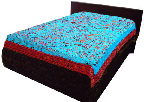 Blue Embroidered Bed Sheet