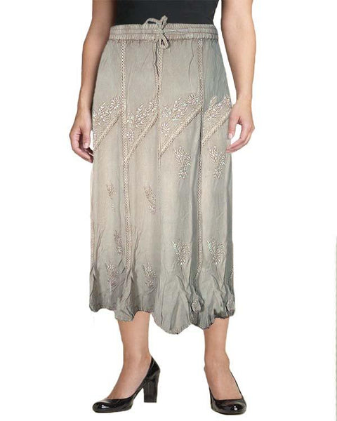 Brown Rayon Embroidered Skirt