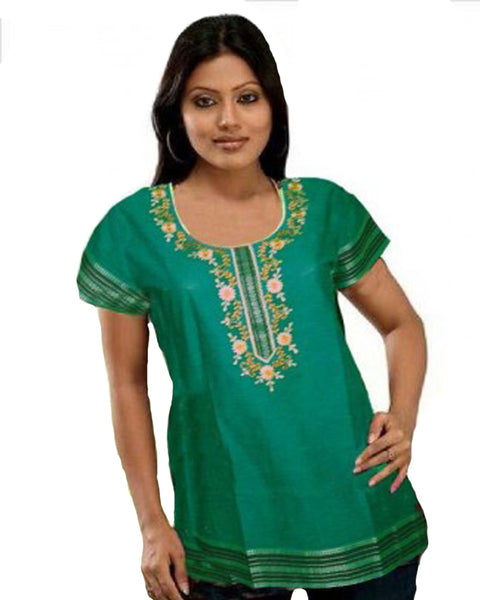 Dark Green Cotton Silk Kurti